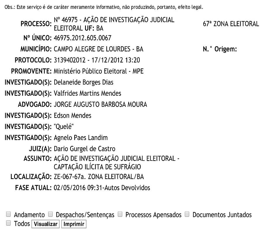Acompanhamento Processual da Justiça Eleitoral - TSE